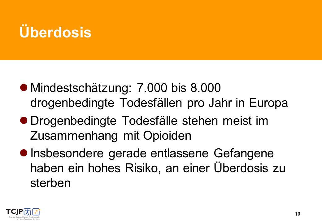 10 Überdosis Mindestschätzung: 7.000 bis 8.000 drogenbedingte Todesfällen pro Jahr in Europa Drogenbedingte Todesfälle stehen meist im Zusammenhang mit Opioiden Insbesondere gerade entlassene Gefangene haben ein hohes Risiko, an einer Überdosis zu sterben