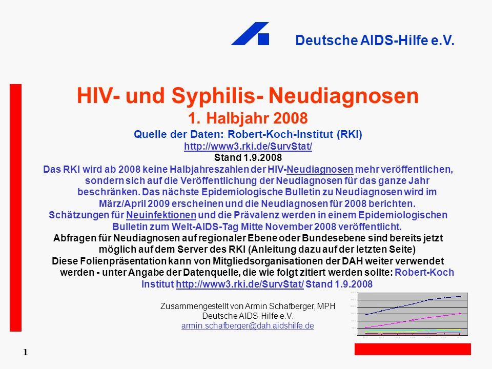 Deutsche AIDS-Hilfe e.V. 1 HIV- und Syphilis- Neudiagnosen 1.Halbjahr 2008 Quelle der Daten: Robert-Koch-Institut (RKI) http://www3.rki.de/SurvStat/ S