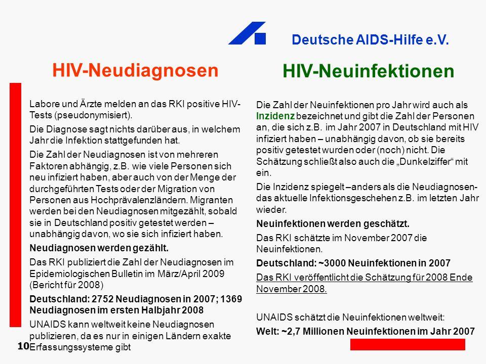 Deutsche AIDS-Hilfe e.V. HIV-Neuinfektionen Die Zahl der Neuinfektionen pro Jahr wird auch als Inzidenz bezeichnet und gibt die Zahl der Personen an,