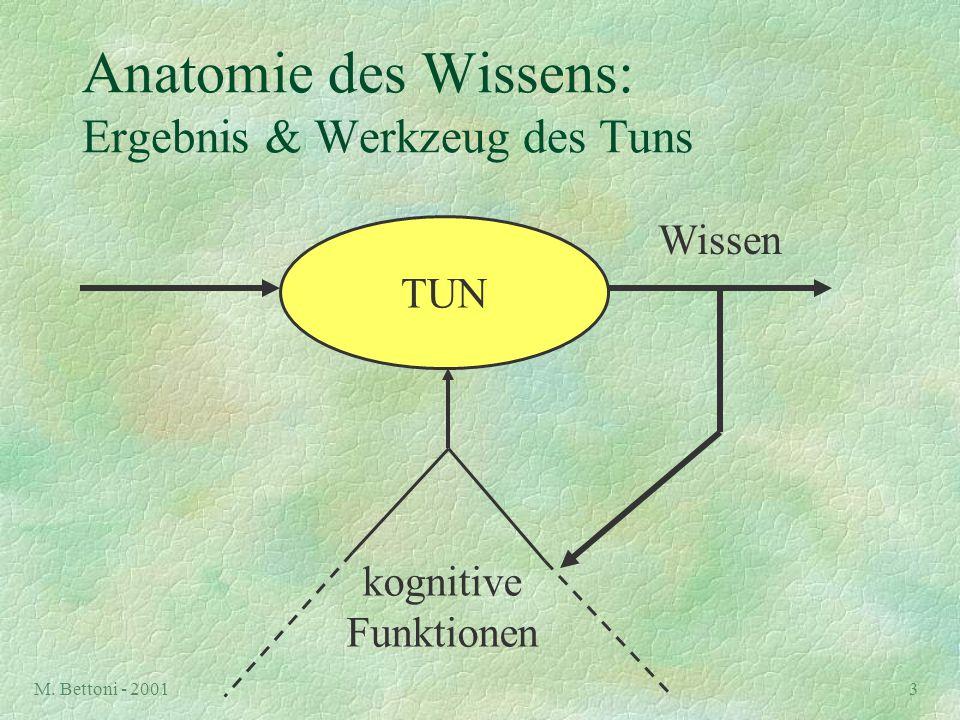 M. Bettoni - 20013 Anatomie des Wissens: Ergebnis & Werkzeug des Tuns TUN kognitive Funktionen Wissen
