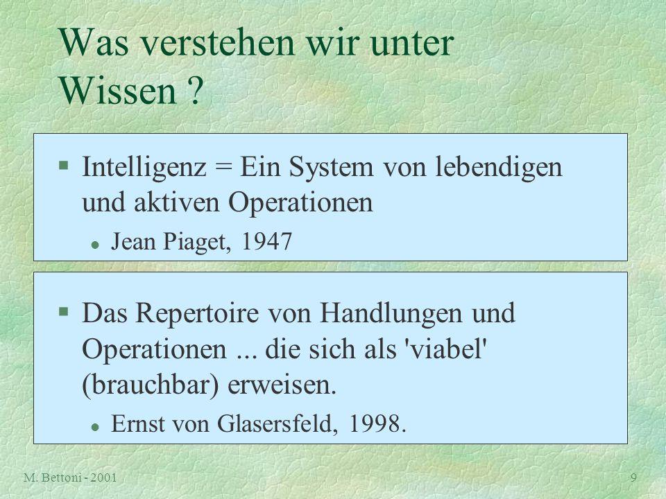 M. Bettoni - 20019 Was verstehen wir unter Wissen ? §Intelligenz = Ein System von lebendigen und aktiven Operationen l Jean Piaget, 1947 §Das Repertoi