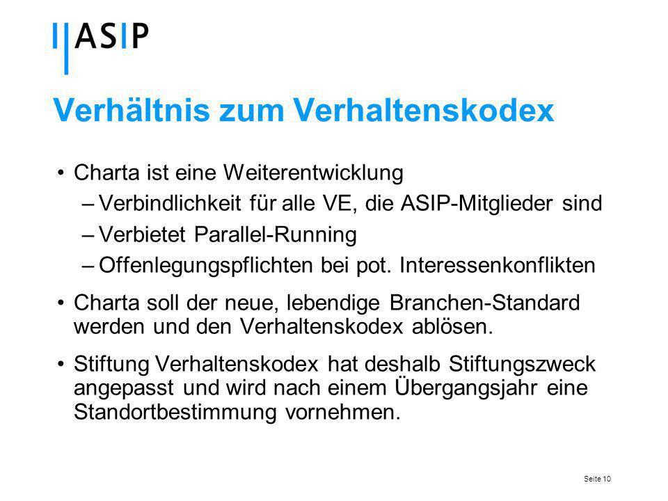 Seite 10 Verhältnis zum Verhaltenskodex Charta ist eine Weiterentwicklung –Verbindlichkeit für alle VE, die ASIP-Mitglieder sind –Verbietet Parallel-Running –Offenlegungspflichten bei pot.