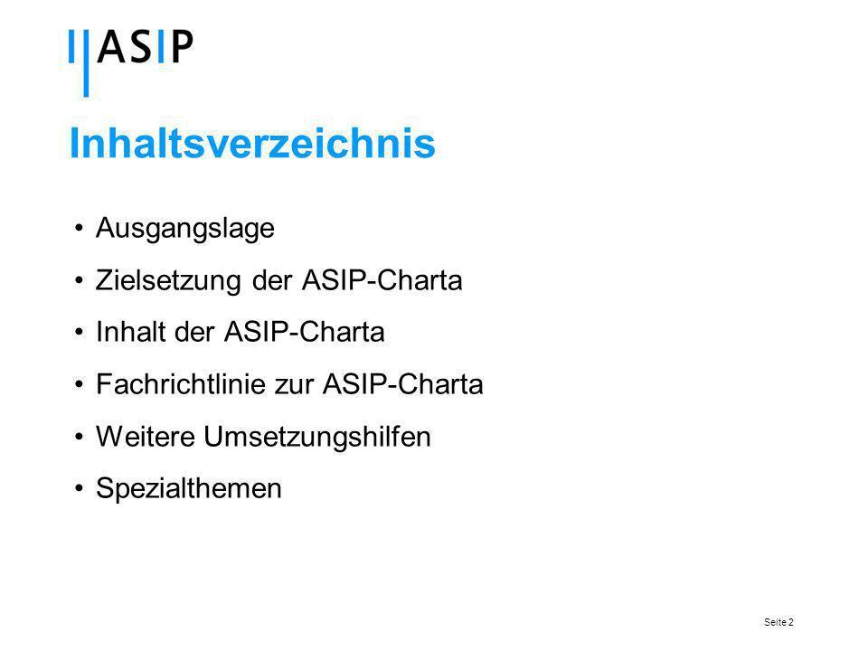 Seite 2 Inhaltsverzeichnis Ausgangslage Zielsetzung der ASIP-Charta Inhalt der ASIP-Charta Fachrichtlinie zur ASIP-Charta Weitere Umsetzungshilfen Spezialthemen