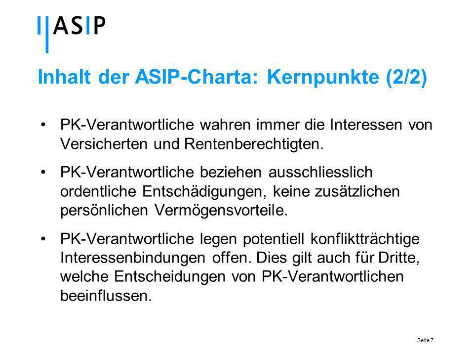 Seite 7 Inhalt der ASIP-Charta: Kernpunkte (2/2) PK-Verantwortliche wahren immer die Interessen von Versicherten und Rentenberechtigten.