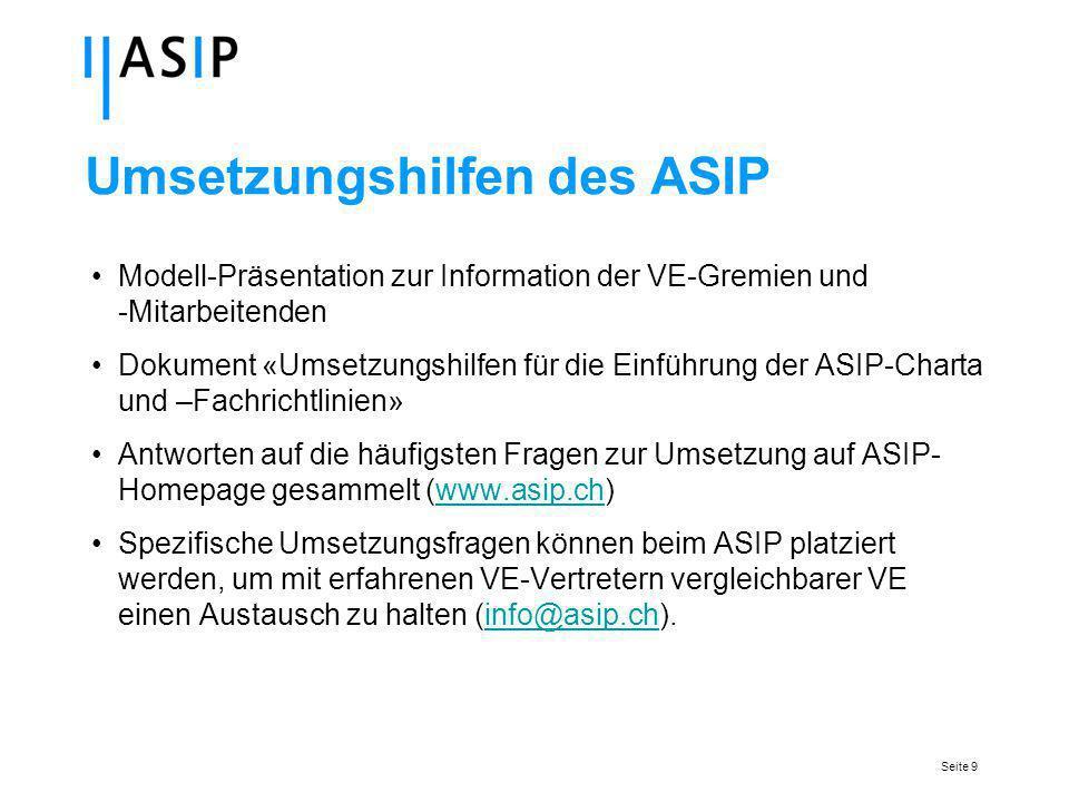Seite 9 Umsetzungshilfen des ASIP Modell-Präsentation zur Information der VE-Gremien und -Mitarbeitenden Dokument «Umsetzungshilfen für die Einführung der ASIP-Charta und –Fachrichtlinien» Antworten auf die häufigsten Fragen zur Umsetzung auf ASIP- Homepage gesammelt (www.asip.ch)www.asip.ch Spezifische Umsetzungsfragen können beim ASIP platziert werden, um mit erfahrenen VE-Vertretern vergleichbarer VE einen Austausch zu halten (info@asip.ch).info@asip.ch