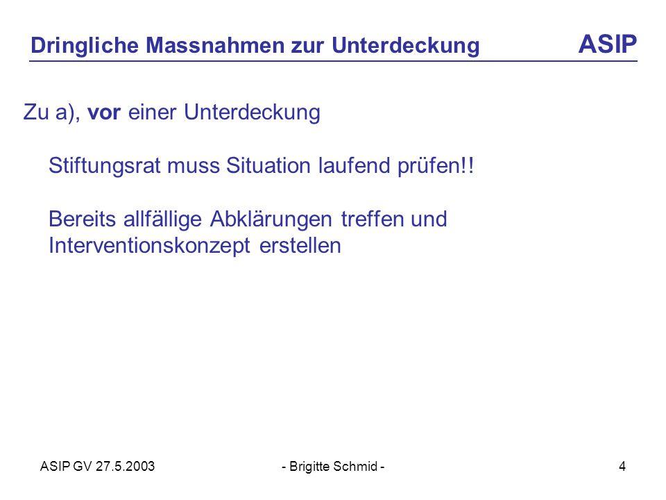 ASIP GV 27.5.2003- Brigitte Schmid -4 Dringliche Massnahmen zur Unterdeckung ASIP Zu a), vor einer Unterdeckung Stiftungsrat muss Situation laufend prüfen!.