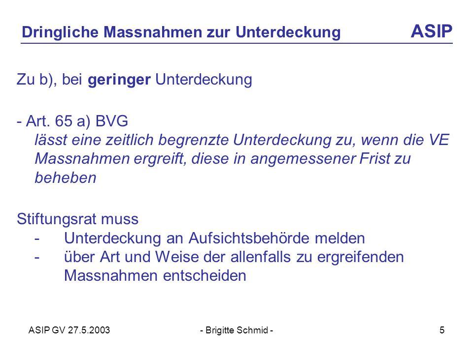 ASIP GV 27.5.2003- Brigitte Schmid -5 Dringliche Massnahmen zur Unterdeckung ASIP Zu b), bei geringer Unterdeckung - Art.