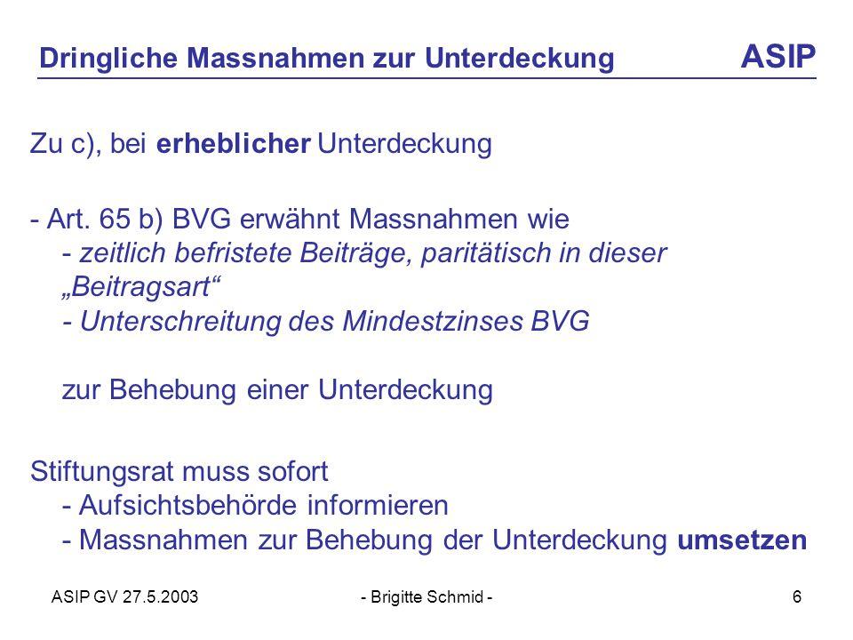 ASIP GV 27.5.2003- Brigitte Schmid -6 Dringliche Massnahmen zur Unterdeckung ASIP Zu c), bei erheblicher Unterdeckung - Art.