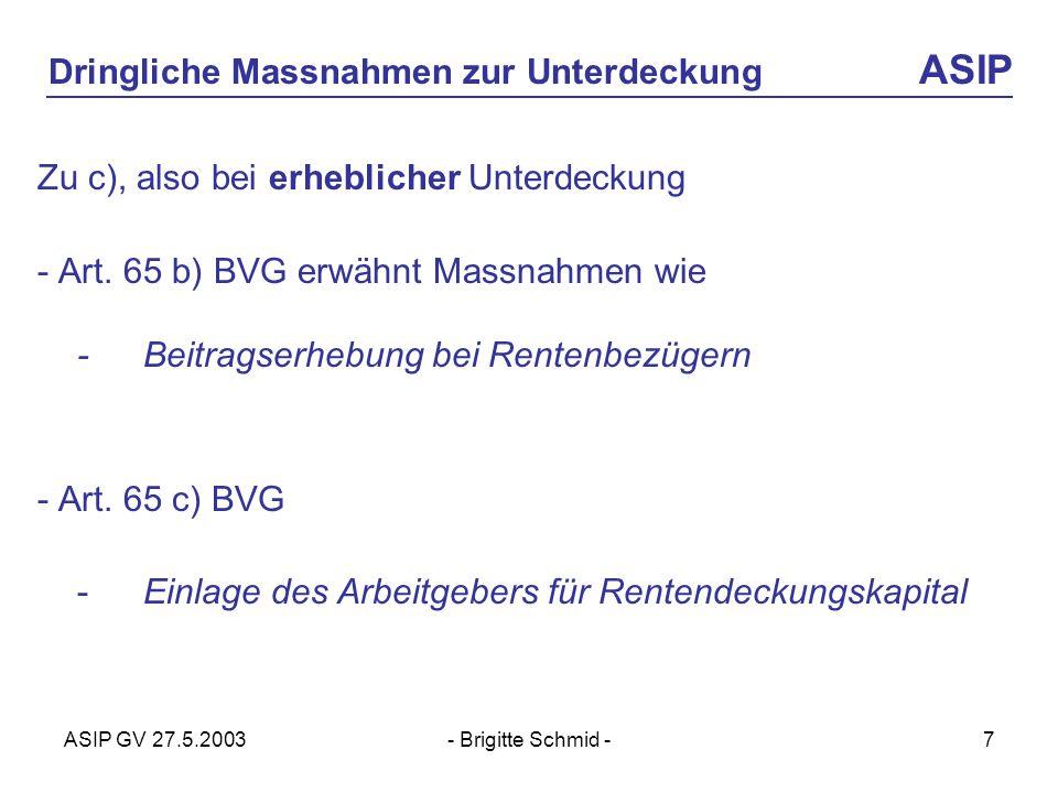 ASIP GV 27.5.2003- Brigitte Schmid -7 Dringliche Massnahmen zur Unterdeckung ASIP Zu c), also bei erheblicher Unterdeckung - Art.