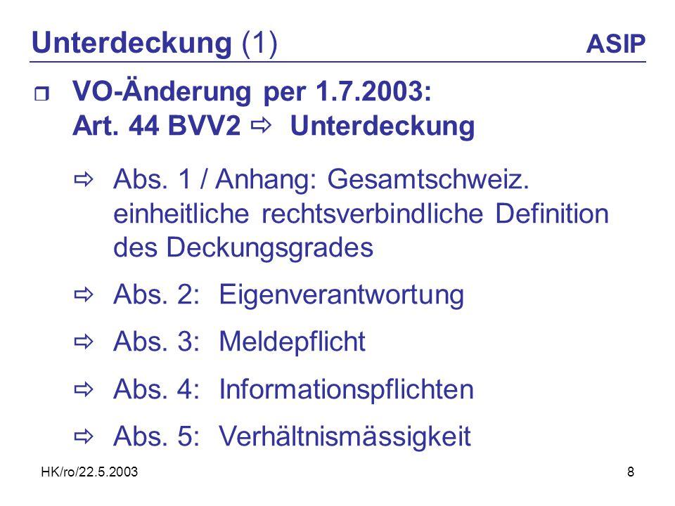 HK/ro/22.5.20038 Unterdeckung (1) ASIP VO-Änderung per 1.7.2003: Art. 44 BVV2 Unterdeckung Abs. 1 / Anhang: Gesamtschweiz. einheitliche rechtsverbindl