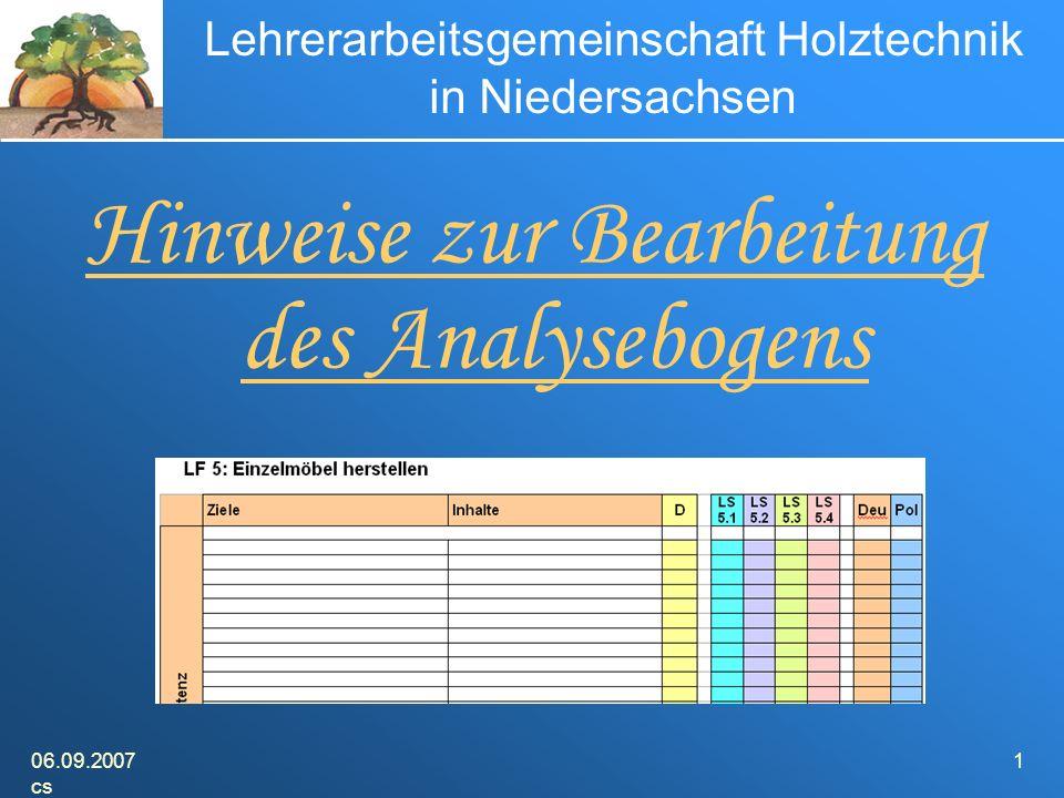 06.09.2007 cs 1 Lehrerarbeitsgemeinschaft Holztechnik in Niedersachsen Hinweise zur Bearbeitung des Analysebogens