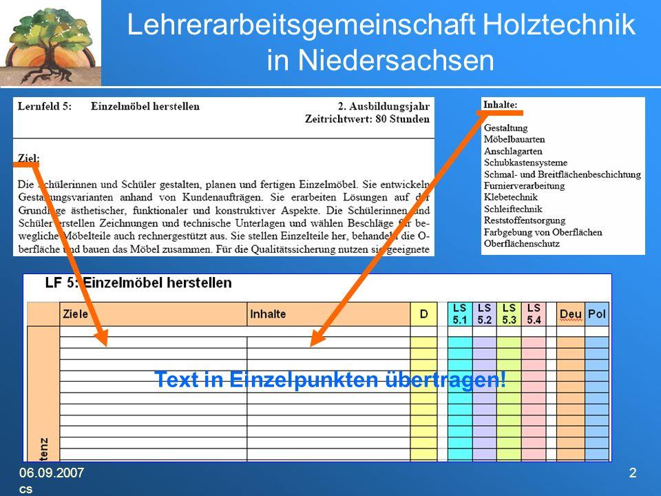06.09.2007 cs 2 Lehrerarbeitsgemeinschaft Holztechnik in Niedersachsen Text in Einzelpunkten übertragen!
