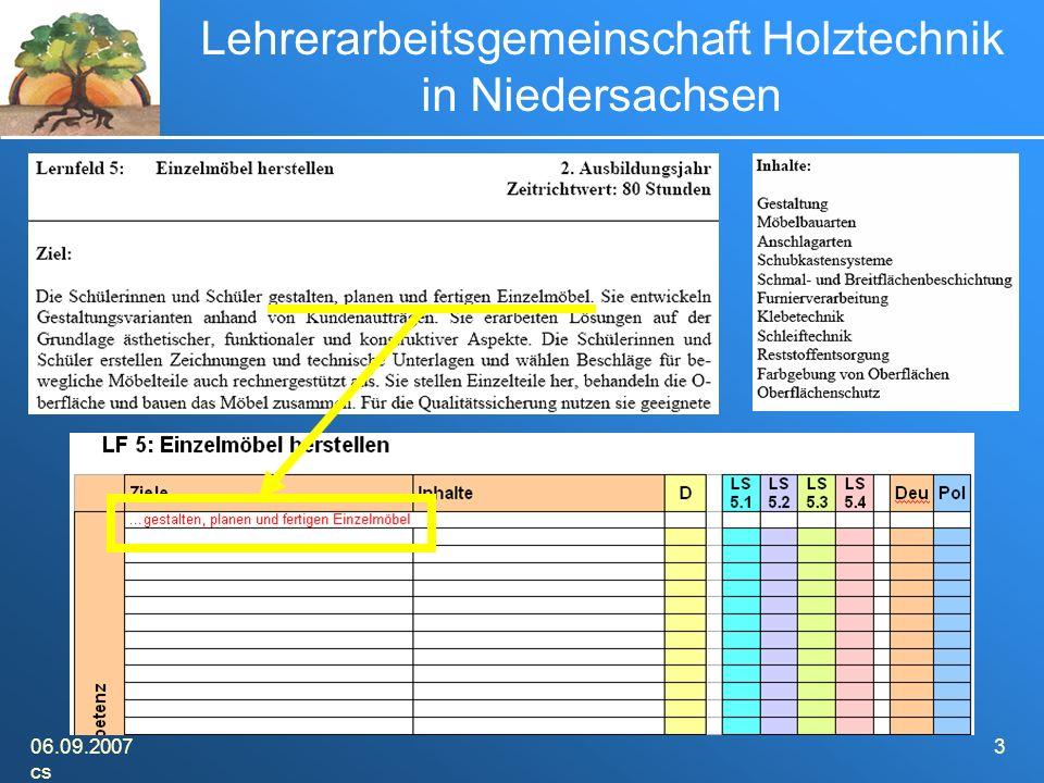 06.09.2007 cs 3 Lehrerarbeitsgemeinschaft Holztechnik in Niedersachsen