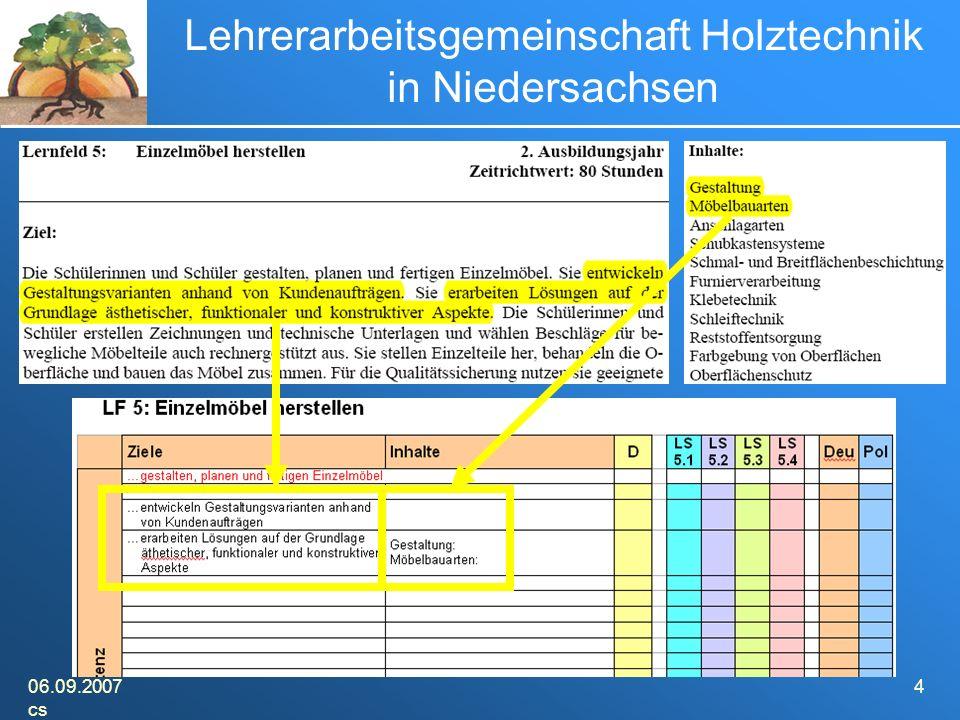 06.09.2007 cs 4 Lehrerarbeitsgemeinschaft Holztechnik in Niedersachsen