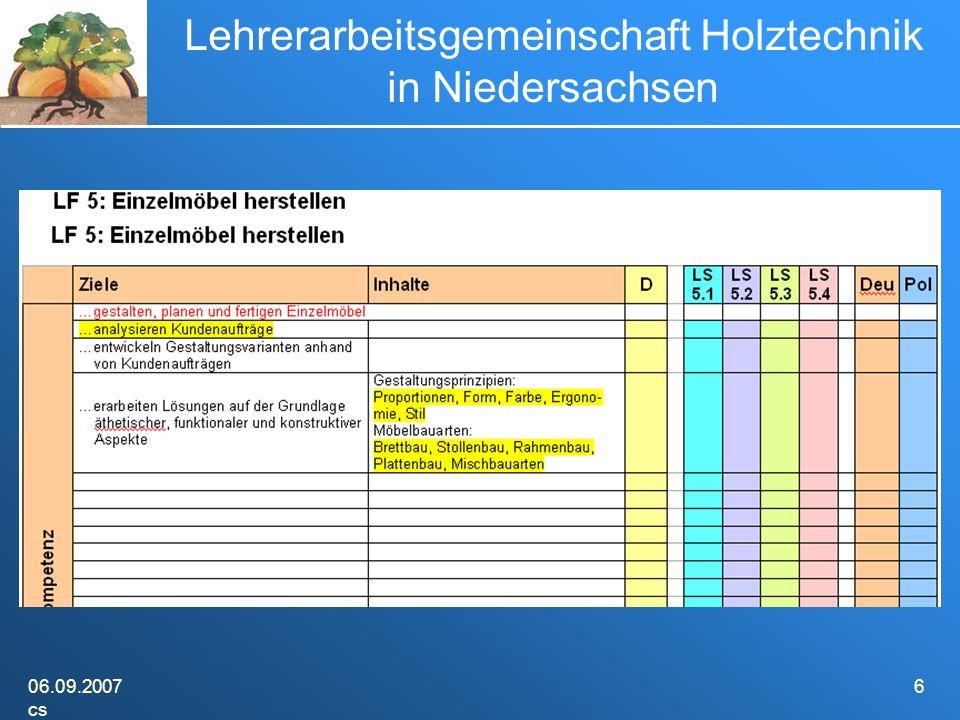 06.09.2007 cs 6 Lehrerarbeitsgemeinschaft Holztechnik in Niedersachsen