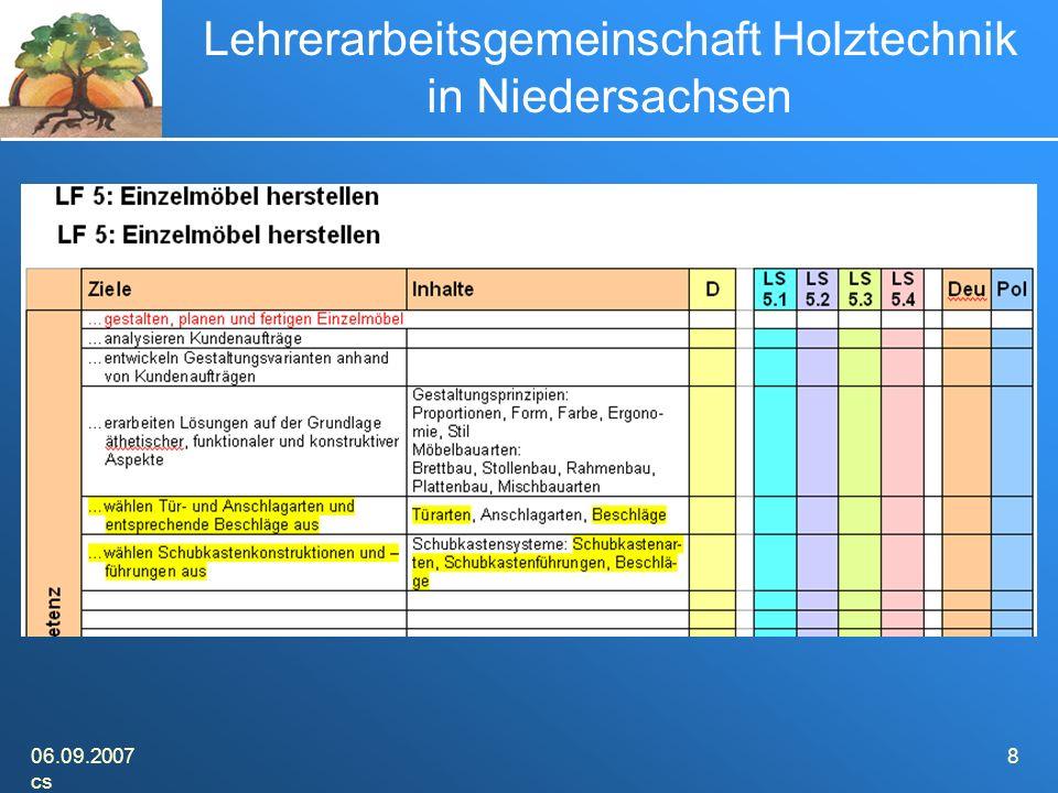 06.09.2007 cs 8 Lehrerarbeitsgemeinschaft Holztechnik in Niedersachsen