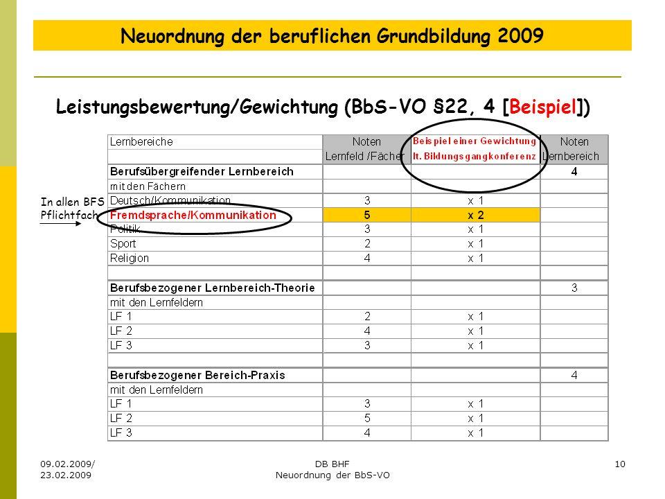 09.02.2009/ 23.02.2009 DB BHF Neuordnung der BbS-VO 10 Neuordnung der beruflichen Grundbildung 2009 In allen BFS Pflichtfach Leistungsbewertung/Gewich