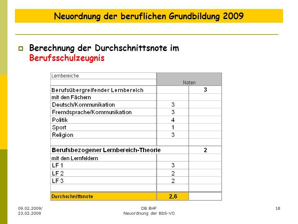09.02.2009/ 23.02.2009 DB BHF Neuordnung der BbS-VO 18 Neuordnung der beruflichen Grundbildung 2009 Berechnung der Durchschnittsnote im Berufsschulzeu