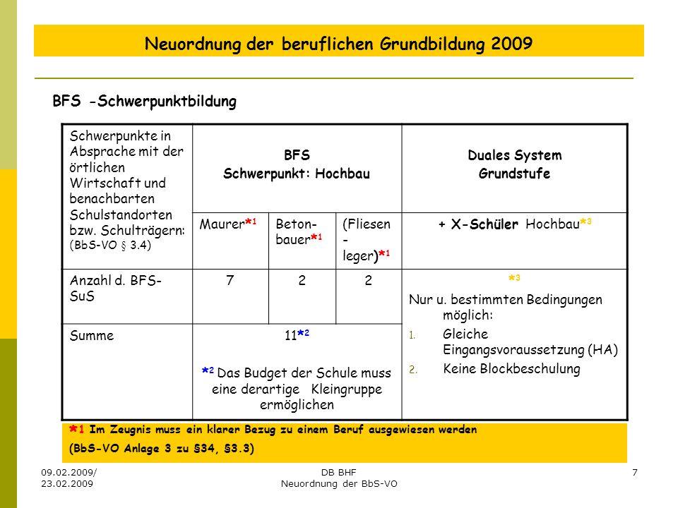 09.02.2009/ 23.02.2009 DB BHF Neuordnung der BbS-VO 7 Neuordnung der beruflichen Grundbildung 2009 BFS -Schwerpunktbildung Schwerpunkte in Absprache m