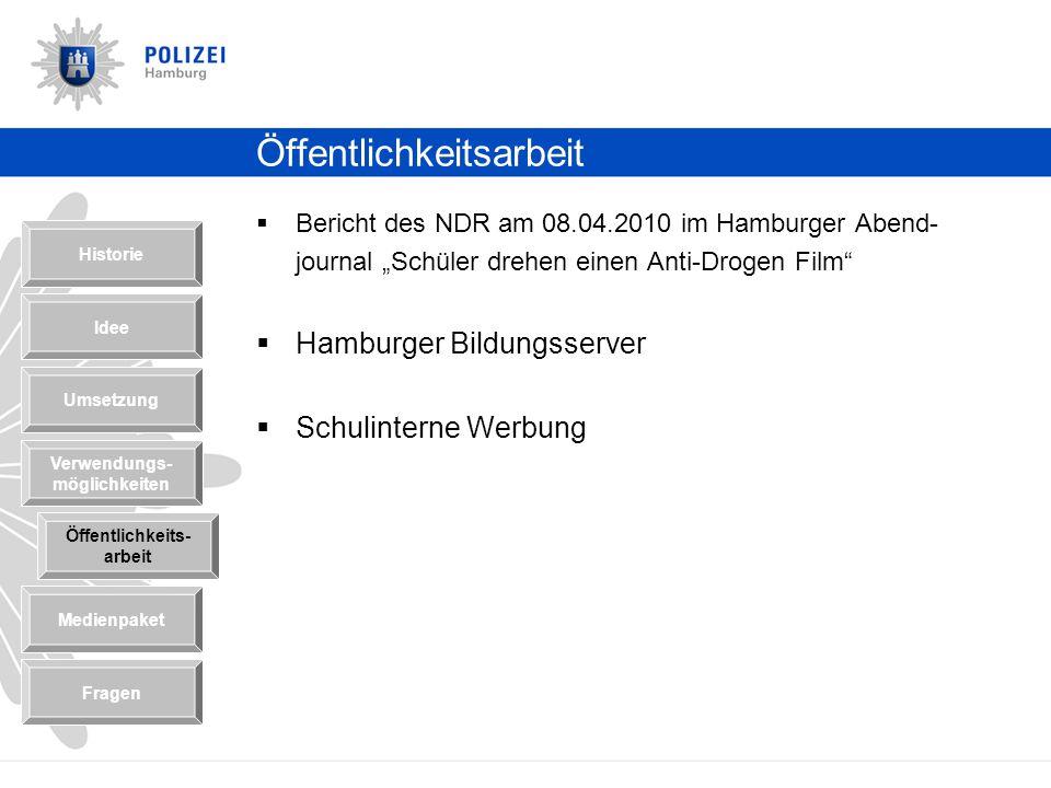 Öffentlichkeitsarbeit Bericht des NDR am 08.04.2010 im Hamburger Abend- journal Schüler drehen einen Anti-Drogen Film Hamburger Bildungsserver Schulin