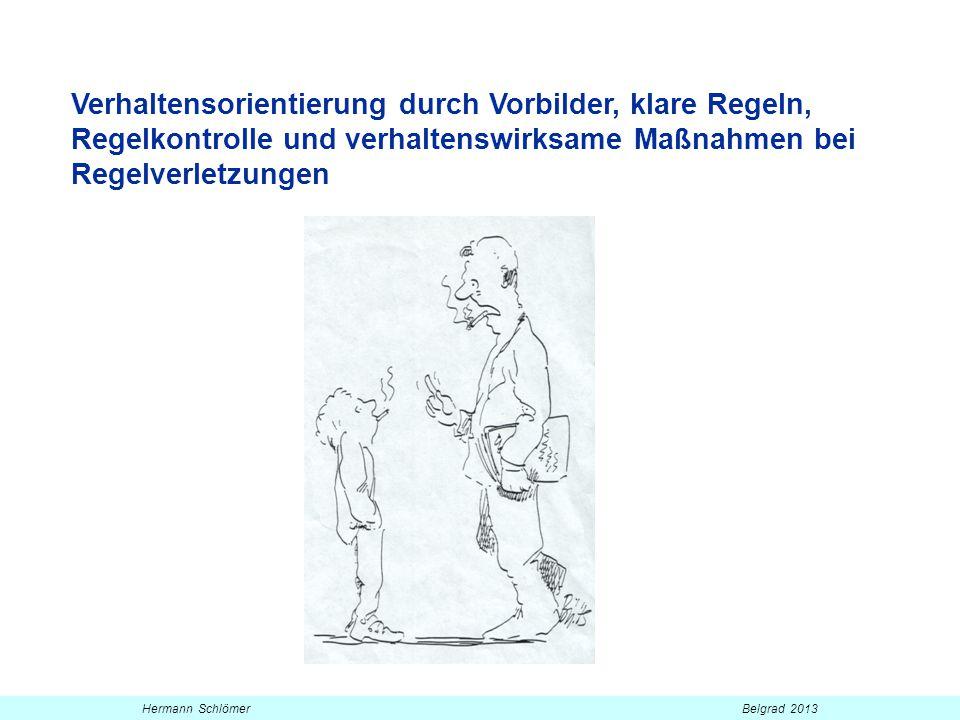 Verhaltensorientierung durch Vorbilder, klare Regeln, Regelkontrolle und verhaltenswirksame Maßnahmen bei Regelverletzungen Hermann Schlömer Belgrad 2