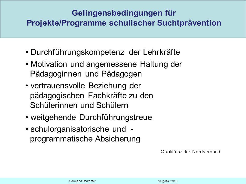 Gelingensbedingungen für Projekte/Programme schulischer Suchtprävention Durchführungskompetenz der Lehrkräfte Motivation und angemessene Haltung der P