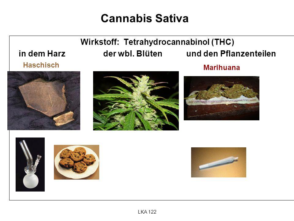 LKA 122 Cannabis Sativa Wirkstoff: Tetrahydrocannabinol (THC) in dem Harz der wbl. Blüten und den Pflanzenteilen Haschisch Marihuana