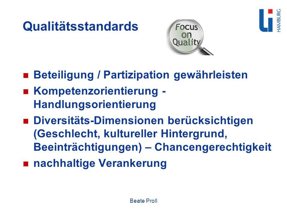 Qualitätsstandards Beteiligung / Partizipation gewährleisten Kompetenzorientierung - Handlungsorientierung Diversitäts-Dimensionen berücksichtigen (Ge