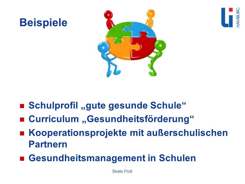 Beispiele Schulprofil gute gesunde Schule Curriculum Gesundheitsförderung Kooperationsprojekte mit außerschulischen Partnern Gesundheitsmanagement in