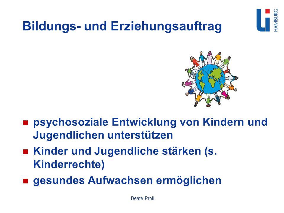 Bildungs- und Erziehungsauftrag psychosoziale Entwicklung von Kindern und Jugendlichen unterstützen Kinder und Jugendliche stärken (s. Kinderrechte) g