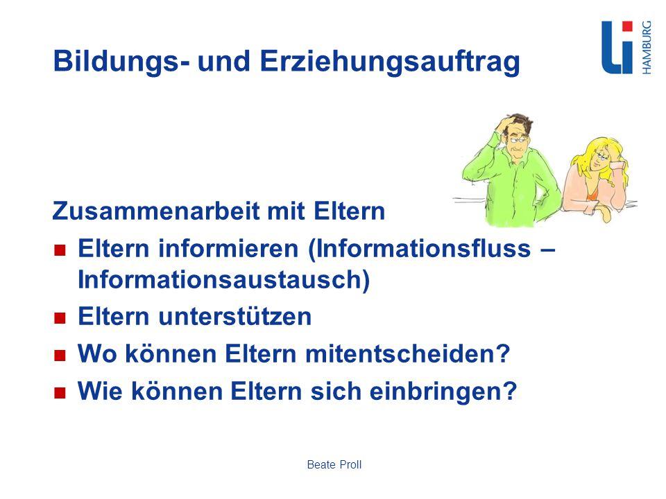 Bildungs- und Erziehungsauftrag Zusammenarbeit mit Eltern Eltern informieren (Informationsfluss – Informationsaustausch) Eltern unterstützen Wo können