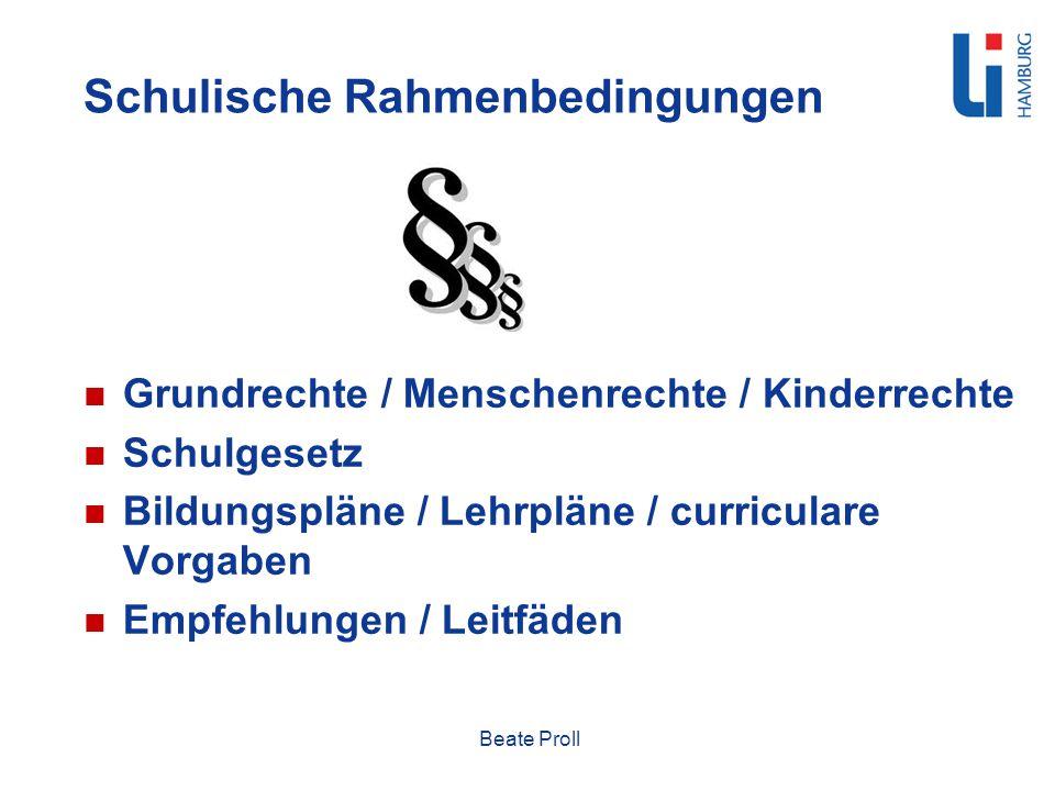 Schulische Rahmenbedingungen Grundrechte / Menschenrechte / Kinderrechte Schulgesetz Bildungspläne / Lehrpläne / curriculare Vorgaben Empfehlungen / L