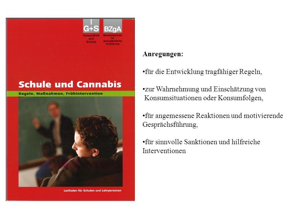 Anregungen: für die Entwicklung tragfähiger Regeln, zur Wahrnehmung und Einschätzung von Konsumsituationen oder Konsumfolgen, für angemessene Reaktionen und motivierende Gesprächsführung, für sinnvolle Sanktionen und hilfreiche Interventionen
