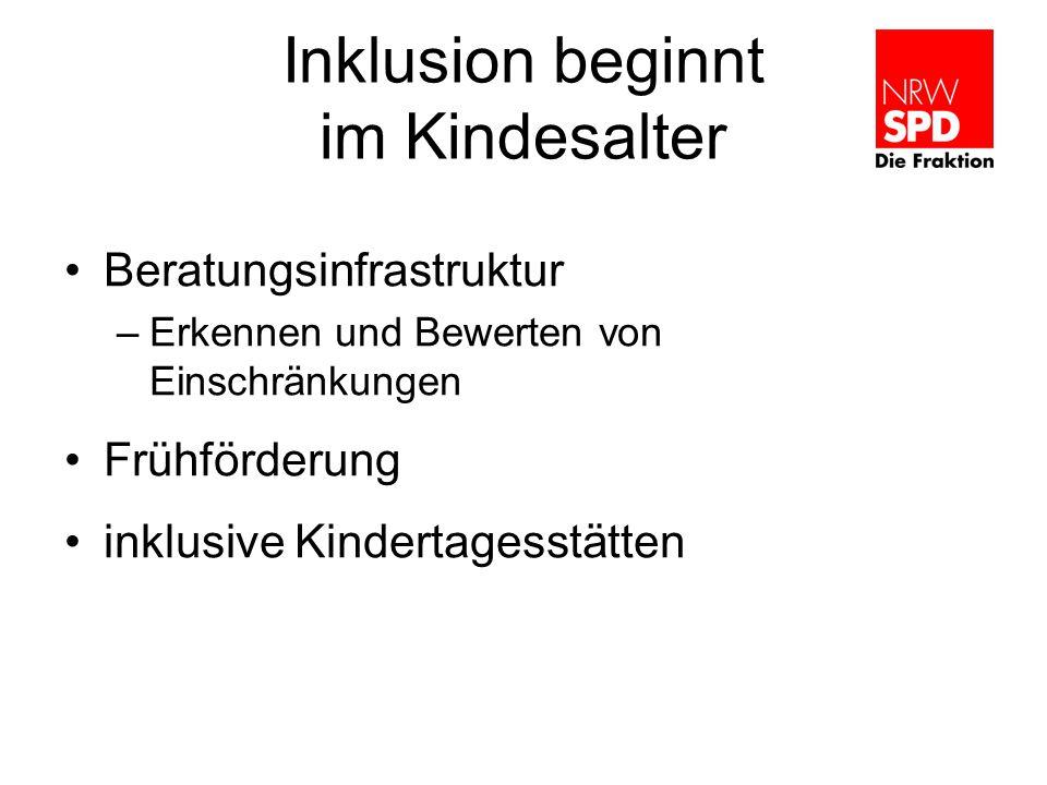 Inklusion beginnt im Kindesalter Beratungsinfrastruktur –Erkennen und Bewerten von Einschränkungen Frühförderung inklusive Kindertagesstätten
