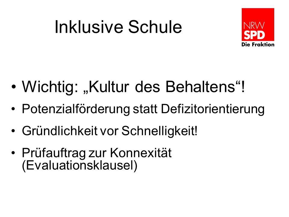 Inklusive Schule Wichtig: Kultur des Behaltens.