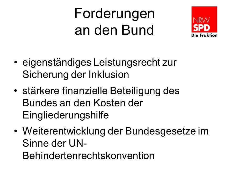 Forderungen an den Bund eigenständiges Leistungsrecht zur Sicherung der Inklusion stärkere finanzielle Beteiligung des Bundes an den Kosten der Eingliederungshilfe Weiterentwicklung der Bundesgesetze im Sinne der UN- Behindertenrechtskonvention