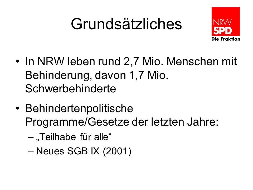Grundsätzliches In NRW leben rund 2,7 Mio. Menschen mit Behinderung, davon 1,7 Mio. Schwerbehinderte Behindertenpolitische Programme/Gesetze der letzt