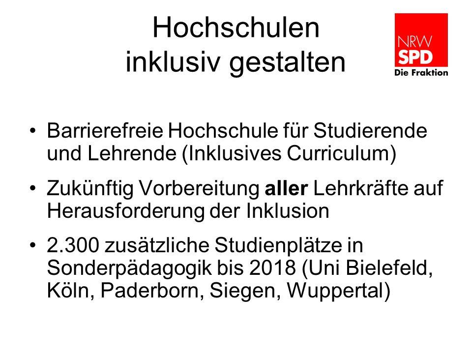Hochschulen inklusiv gestalten Barrierefreie Hochschule für Studierende und Lehrende (Inklusives Curriculum) Zukünftig Vorbereitung aller Lehrkräfte a