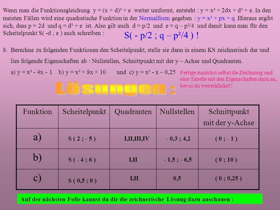 Hier siehst du, wie die Parabel der Funktion y = x² + 4x – 3 entsteht : In dieser Normalform y = x² + px + q sind quadratische Funktionen leider meistens gegeben.