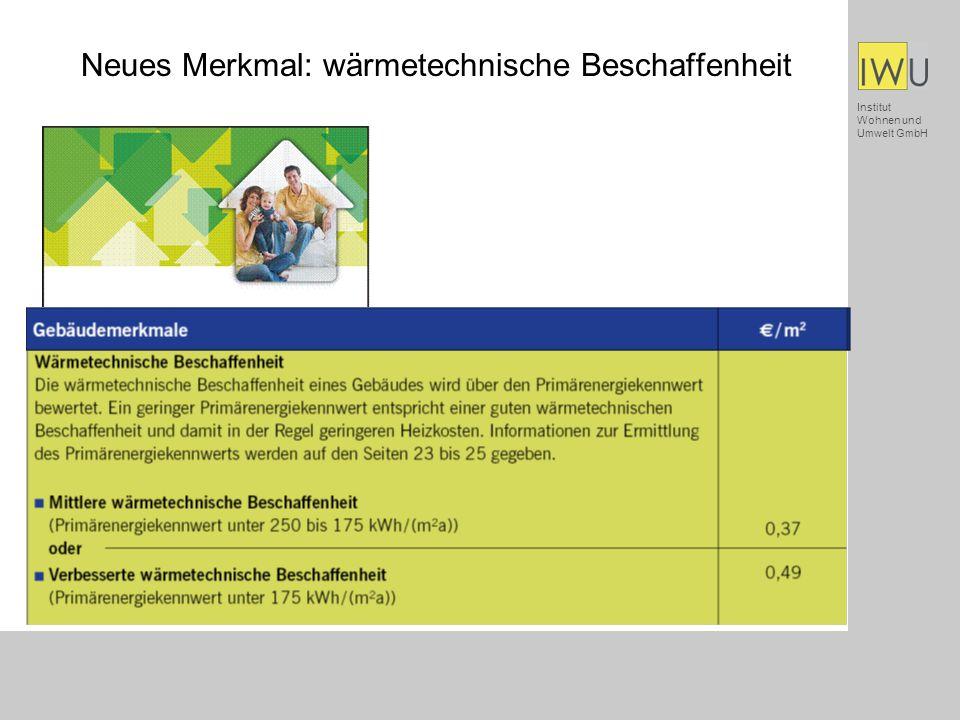Institut Wohnen und Umwelt GmbH Neues Merkmal: wärmetechnische Beschaffenheit