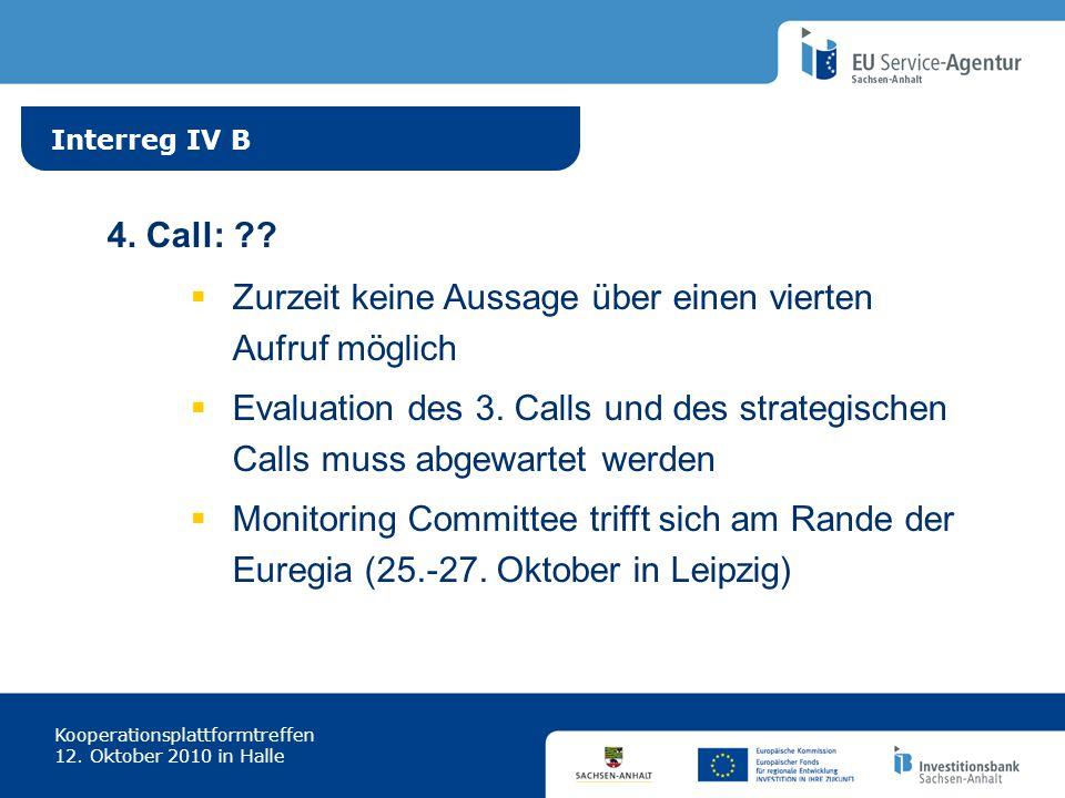 Interreg IV B Kooperationsplattformtreffen 12. Oktober 2010 in Halle 4. Call: ?? Zurzeit keine Aussage über einen vierten Aufruf möglich Evaluation de