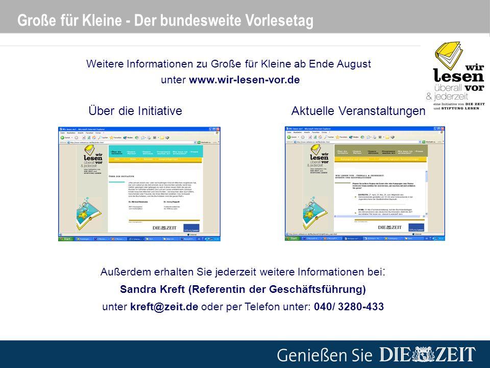 Weitere Informationen zu Große für Kleine ab Ende August unter www.wir-lesen-vor.de Über die InitiativeAktuelle Veranstaltungen Große für Kleine - Der