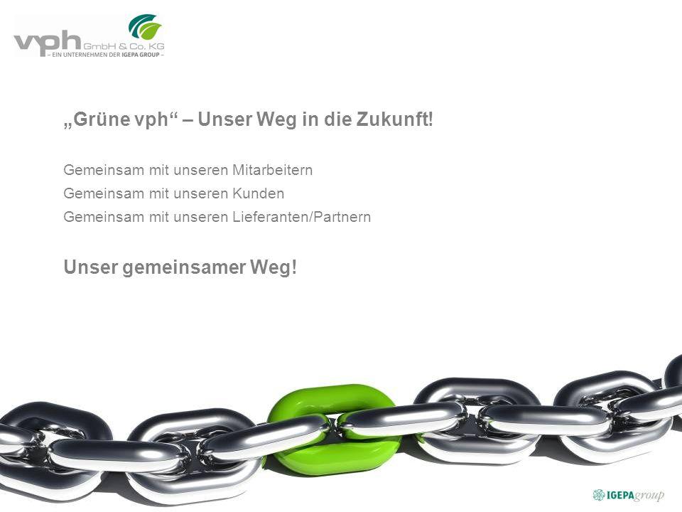 Grüne vph – Unser Weg in die Zukunft! Gemeinsam mit unseren Mitarbeitern Gemeinsam mit unseren Kunden Gemeinsam mit unseren Lieferanten/Partnern Unser