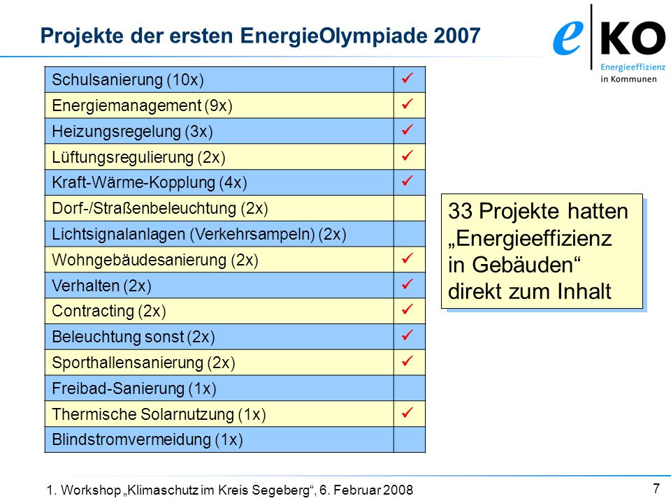 18 1. Workshop Klimaschutz im Kreis Segeberg, 6. Februar 2008 Die EnergieOlympiade 2008