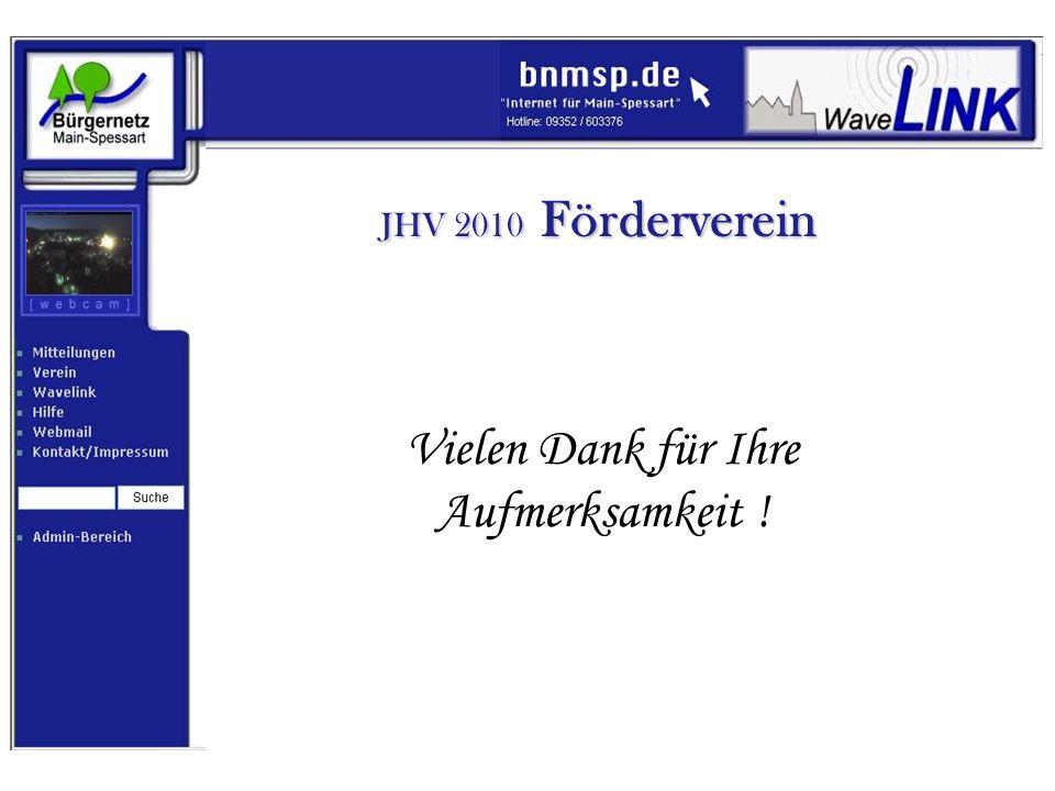 JHV 2010 Förderverein Vielen Dank für Ihre Aufmerksamkeit !