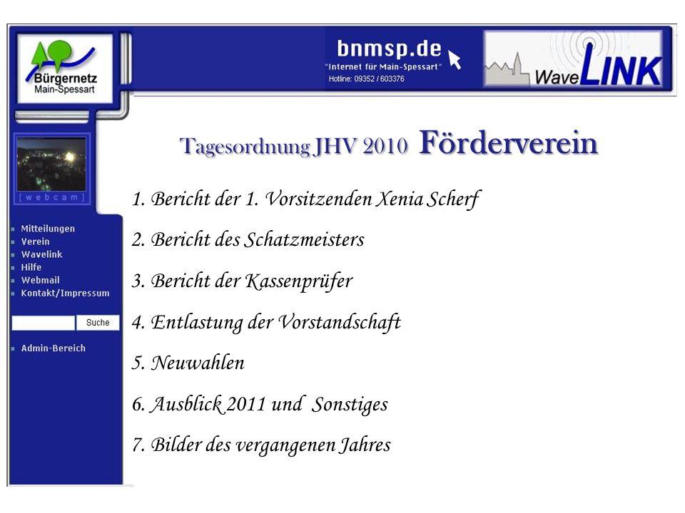 Tagesordnung JHV 2010 Förderverein 1. Bericht der 1. Vorsitzenden Xenia Scherf 2. Bericht des Schatzmeisters 3. Bericht der Kassenprüfer 4. Entlastung