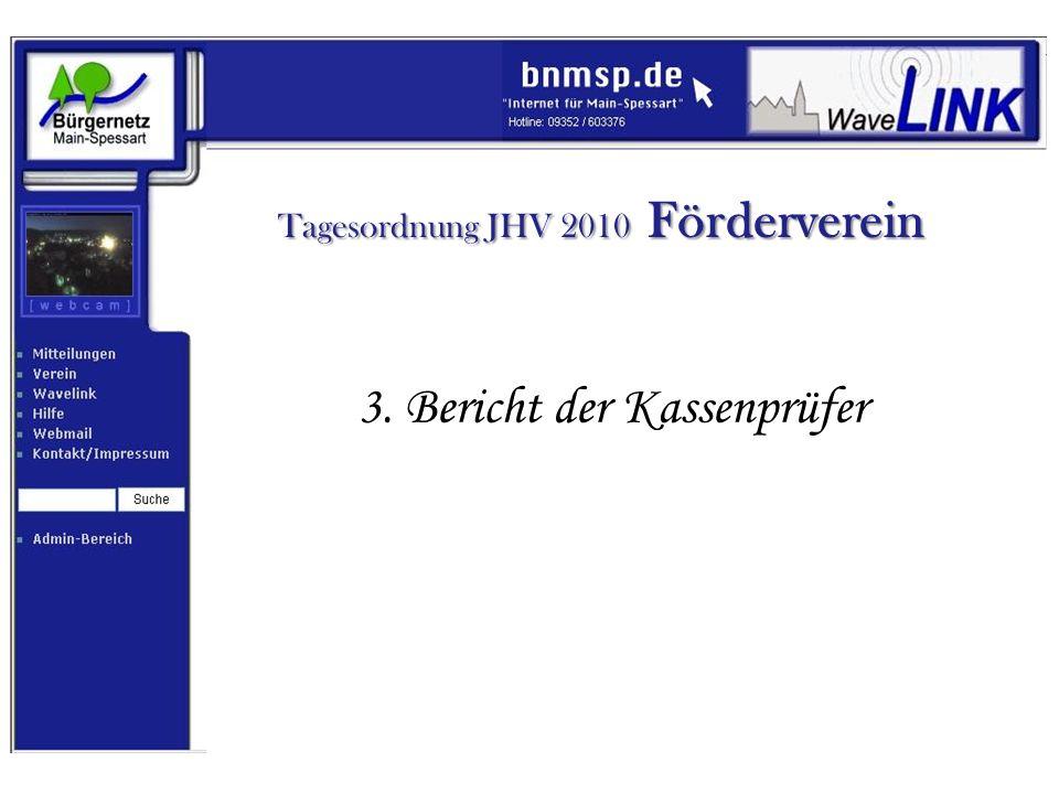 Tagesordnung JHV 2010 Förderverein 4. Entlastung der Vorstandschaft
