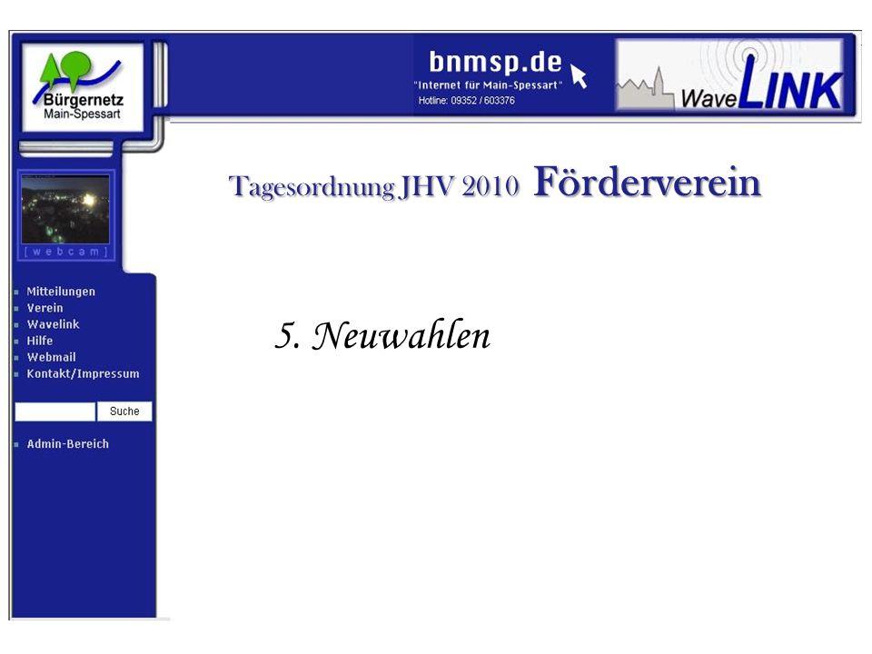 Tagesordnung JHV 2010 Förderverein 6. Ausblick 2011 und Sonstiges