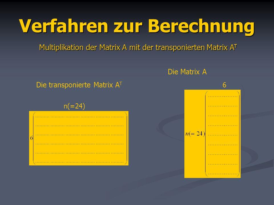 Verfahren zur Berechnung Multiplikation der Matrix A mit der transponierten Matrix A T Die transponierte Matrix A T n(=24) Die Matrix A 6