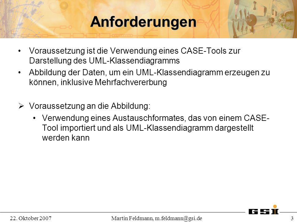 22. Oktober 2007Martin Feldmann, m.feldmann@gsi.de 3 Anforderungen Voraussetzung ist die Verwendung eines CASE-Tools zur Darstellung des UML-Klassendi
